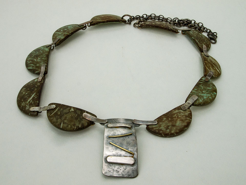coconut and silver necklace
