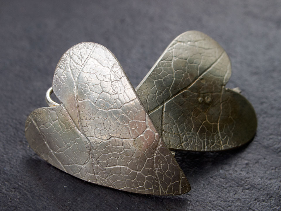 leaf heart earings